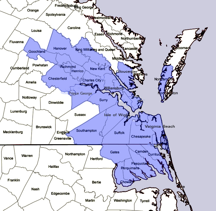 Service Locations The Kerner Group Inc Kerner Group - Map of virginia and north carolina